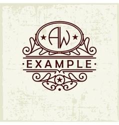 Beautiful emblem badge monogram for template vector