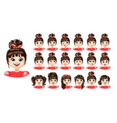 cartoon cute girl emotions set vector image vector image