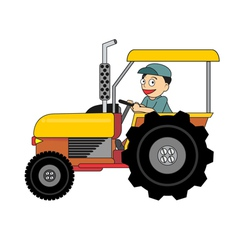 Cartoon farmer driving colorful tractor vector