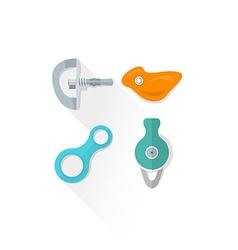 Color alpinism equipment bolt hanger hold belay vector