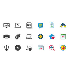 Computer devices icons printer laptop signs vector