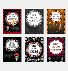 Day of the dead set flyer poster invitation with vector