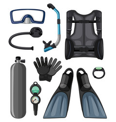 Different diving equipments in black color vector