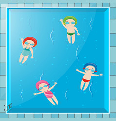 four kids swimming in the pool vector image