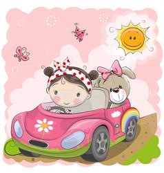 Girl goes on the car vector