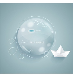 glass bubble and origami paper ship vector image vector image