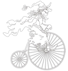 Halloween witch cycling vector image vector image