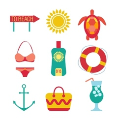 Icons of travel summer in the flat style vector image