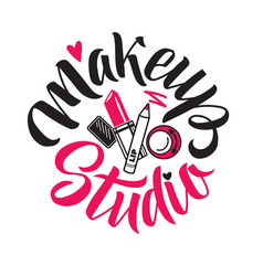 makeup studio logo of vector image vector image