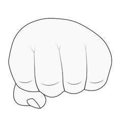 mans hand clenched into fist outlines vector image vector image