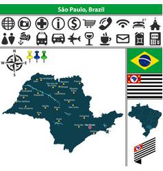 map of sao paulo brazil vector image vector image