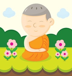 monk cartoon vector image vector image