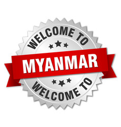 Myanmar 3d silver badge with red ribbon vector