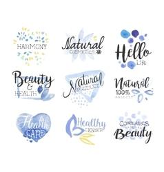 Natural beauty cosmetics promo signs colorful set vector