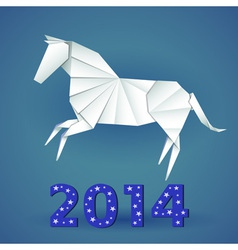 New year origami paper horse 2014 celebration card vector image