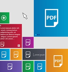 Pdf icon sign buttons modern interface website vector