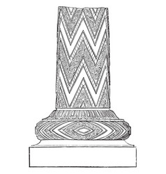 Pillar fragment from the treasury of atreus vector