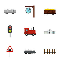 Railway station icons set flat style vector