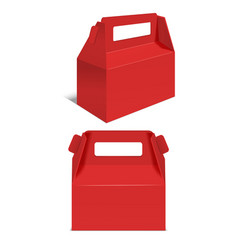 realistic template blank red paper folding box vector image vector image