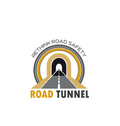 road tunnel isolated icon with highway or freeway vector image