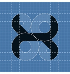 Round engineering font Symbol X vector image