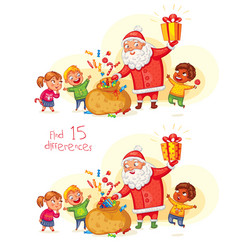 santa claus brings gifts to children vector image vector image