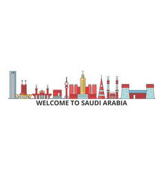 Saudi arabia outline skyline arab flat thin line vector