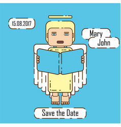 Save the date card angel vector