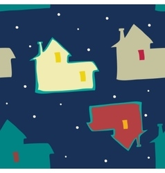 seamless blue background night sky and houses vector image vector image