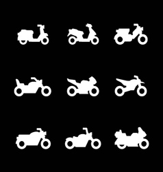 Set icons of motorcycles vector image vector image