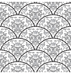 Stylized fish scale japan seamless pattern flower vector