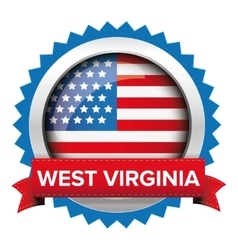 West virginia and usa flag badge vector