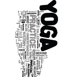 Yoga history text word cloud concept vector