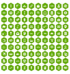 100 economy icons hexagon green vector image vector image