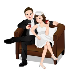 Romantic couple sitting on sofa and drinking vector