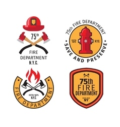 Firefighter emblems and badges vector