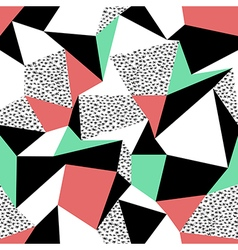Pink and green triangles pattern design seamless vector