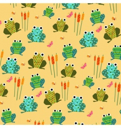 Retro frog pattern vector