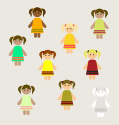Little girls kids cute girls set poster vector
