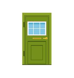 Green front door to house closed elegant door vector