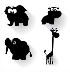 Funny cartoon animals silhouettes vector image