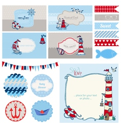 Baby shower nautical set vector
