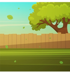 Wooden fence with tree vector
