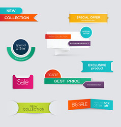 Collection of sale discount styled origami banners vector