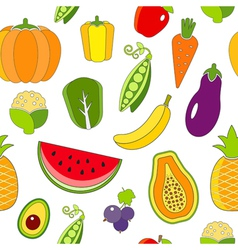 Seamless pattern with fruits and vegetables vector