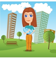 Mother holding newborn baby in the park vector