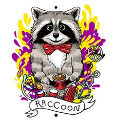 Raccoon drinks tea vector