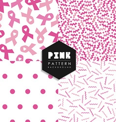 Breast cancer pink geometry seamless pattern set vector