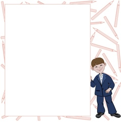 Student boy with list of space for text vector