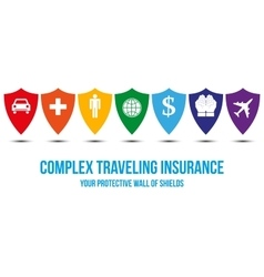 Complex traveling insurance design concept vector
